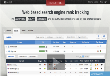 Free search engine rank tracker SEscout