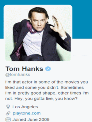 tom hanks twitter profile